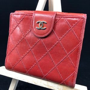 CHANEL red Quilted Lambskin flap bifold wallet